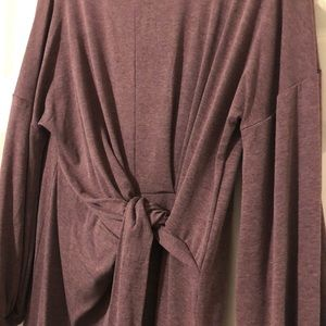 Heather Purple Long Sleeve Tie Front Dress